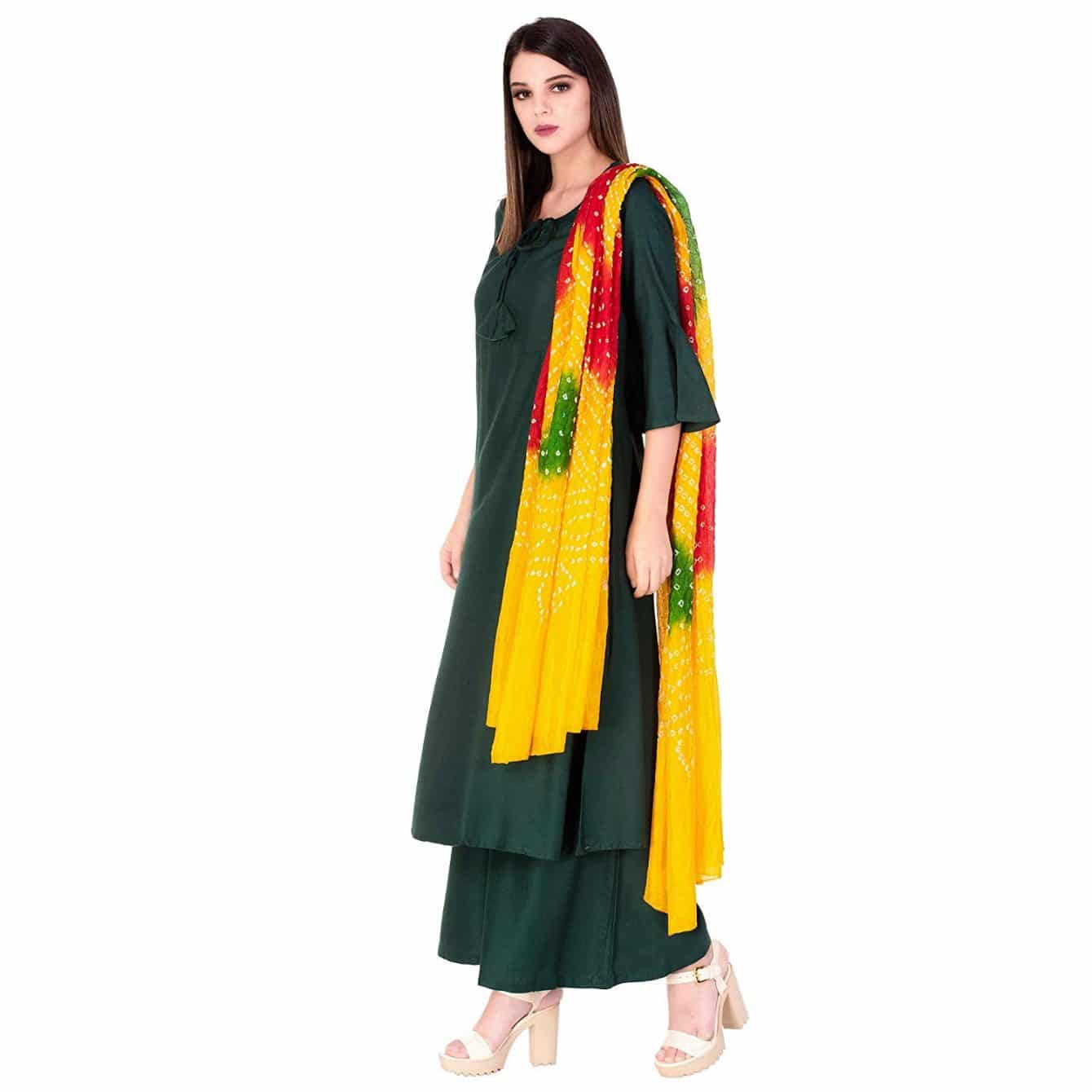 solid indian suit with bandhni dupatta