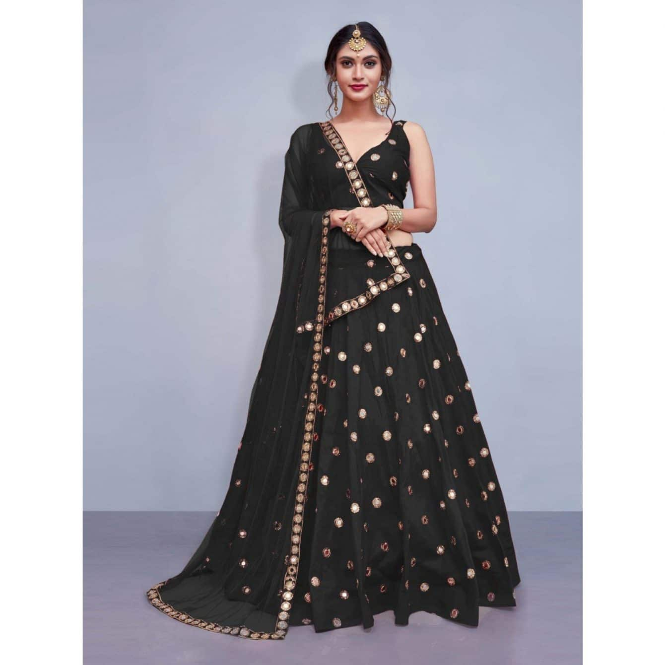 royal black lehenga