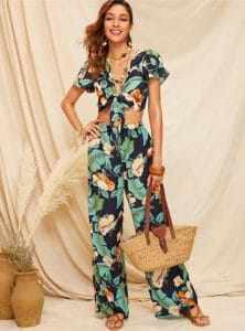 tropical crop top pants set