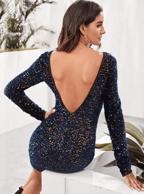 shein backless sequin dress