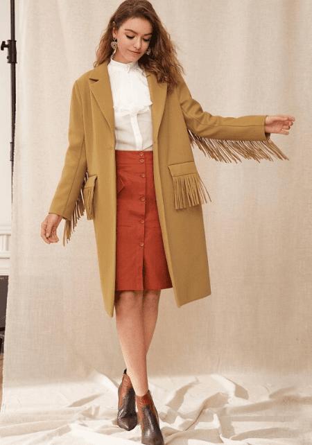 shein camel coat